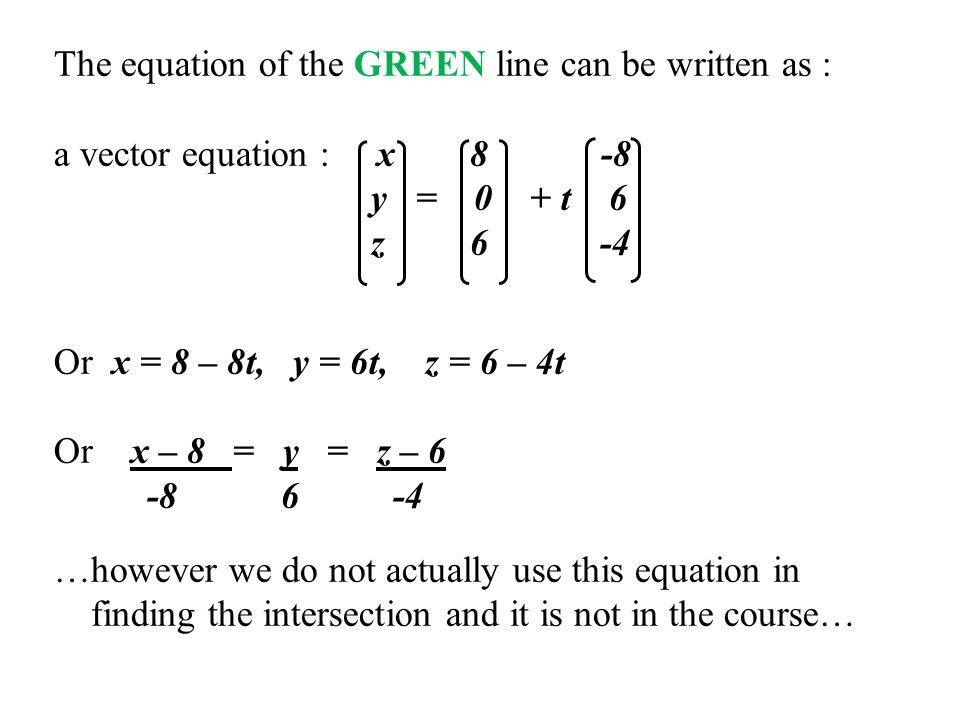 The equation of the GREEN line can be written as : a vector equation : x 8 -8 y = 0 + t 6 z 6 -4 Or x = 8 – 8t, y = 6t, z = 6 – 4t Or x – 8 = y = z – 6 -8 6 -4 …however we do not actually use this equation in finding the intersection and it is not in the course…