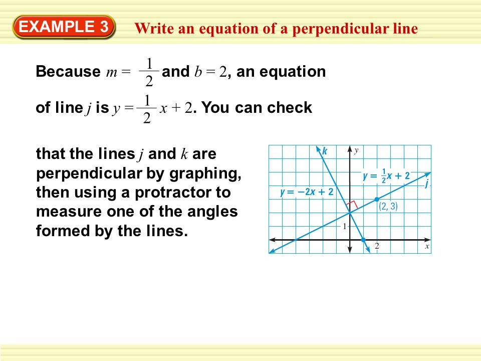EXAMPLE 3 Write an equation of a perpendicular line Because m = and b = 2, an equation 1 2 of line j is y = x + 2. You can check 1 2 that the lines j