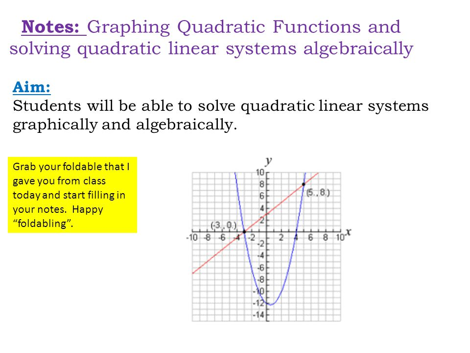 Notes: Graphing Quadratic Functions and solving quadratic linear systems algebraically Aim: Students will be able to solve quadratic linear systems graphically and algebraically.