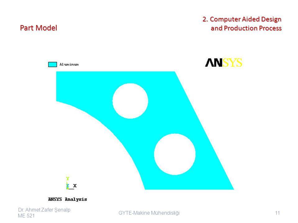 Part Model GYTE-Makine Mühendisliği Dr. Ahmet Zafer Şenalp ME 521 11 2.