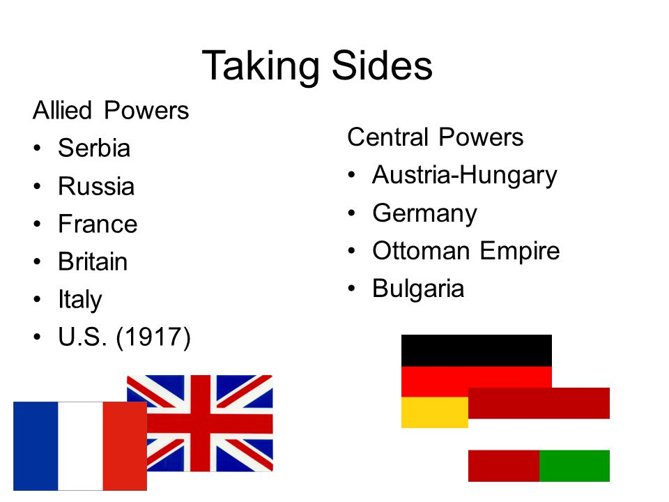 Taking Sides Allied Powers Serbia Russia France Britain Italy U.S.