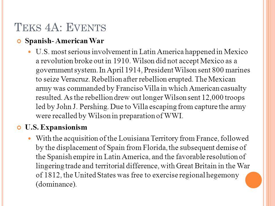 T EKS 4A: E VENTS Spanish- American War U.S.