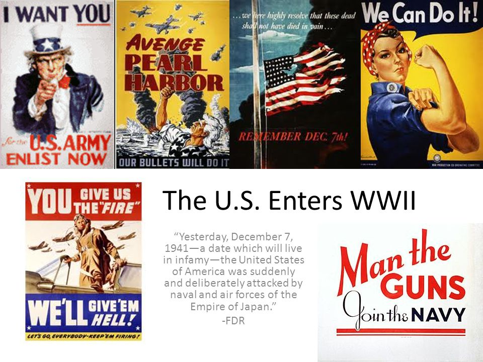 """The U.S. Enters WWII """"Yesterday, December 7, 1941—a date which will live in infamy—the United States of America was suddenly and deliberately attacked"""