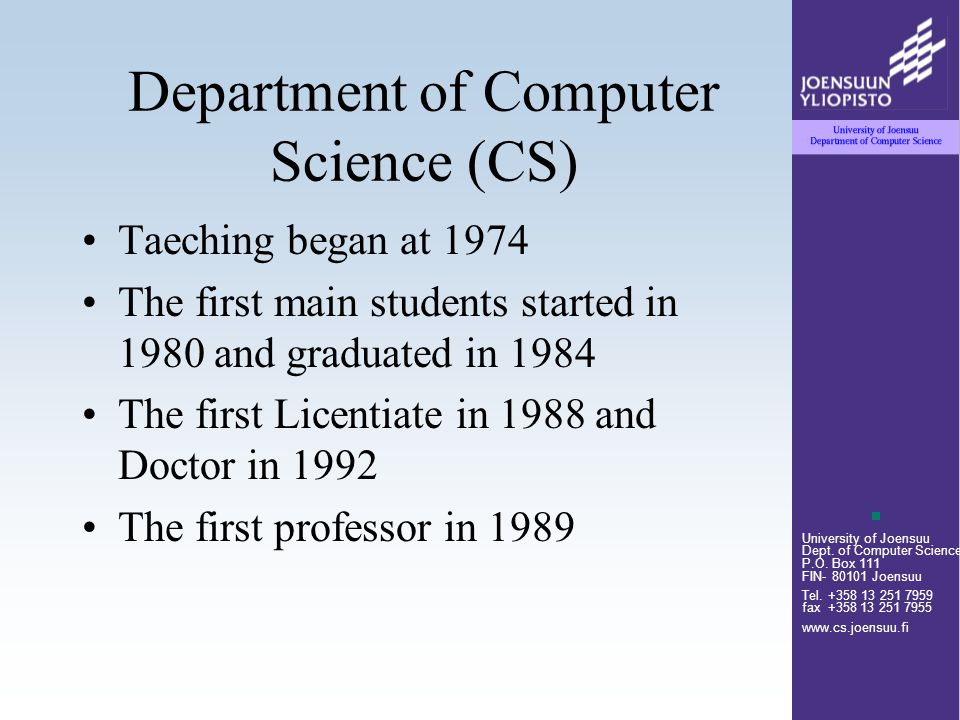 University of Joensuu Dept.of Computer Science P.O.