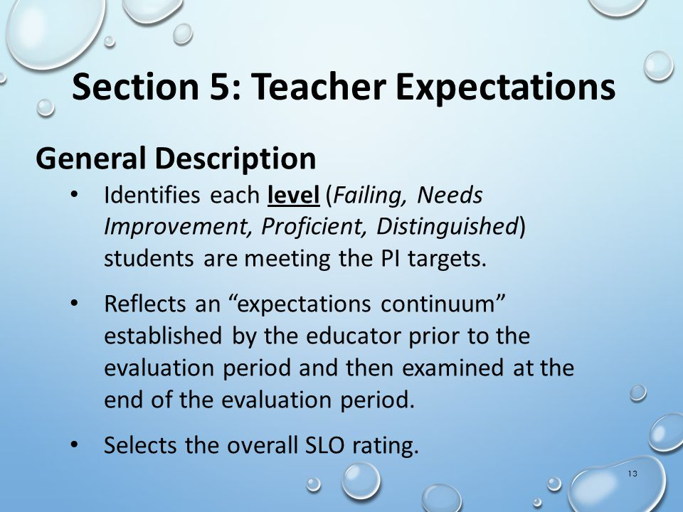 General Description Identifies each level (Failing, Needs Improvement, Proficient, Distinguished) students are meeting the PI targets.