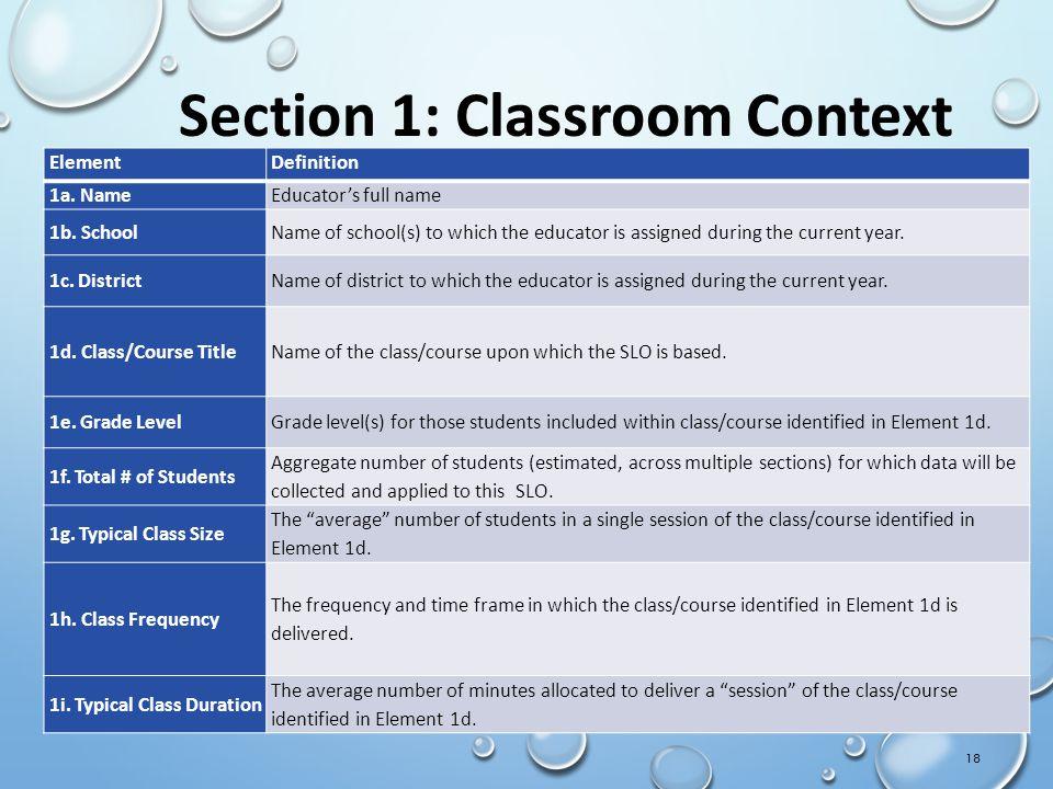 18 Section 1: Classroom Context ElementDefinition 1a.