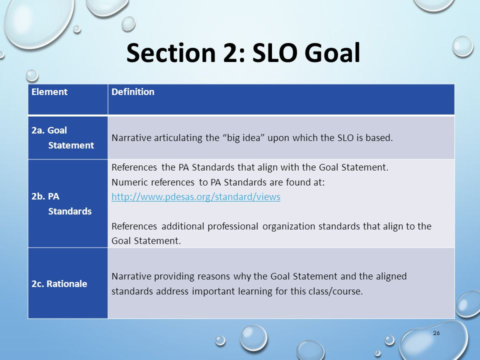 "26 Section 2: SLO Goal ElementDefinition 2a. Goal Statement Narrative articulating the ""big idea"" upon which the SLO is based. 2b. PA Standards Refere"