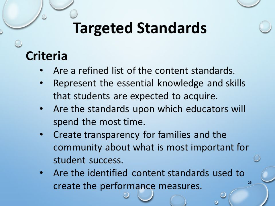 28 Targeted Standards Criteria Are a refined list of the content standards.