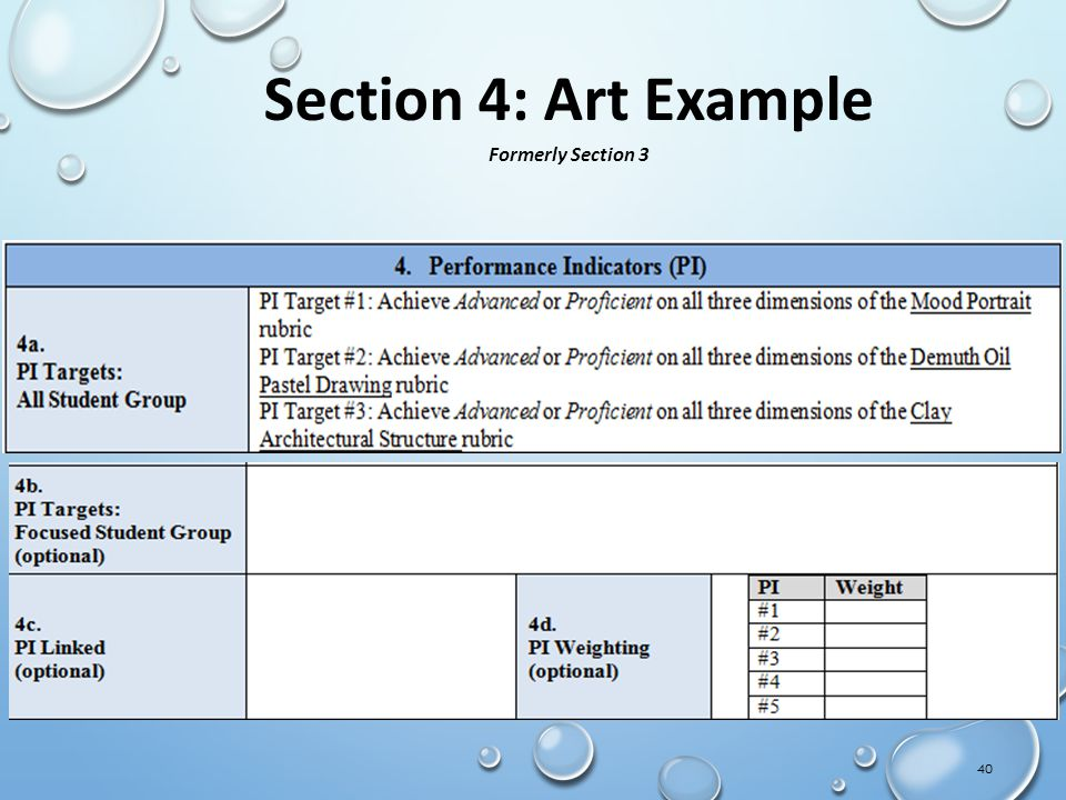 40 Section 4: Art Example Formerly Section 3