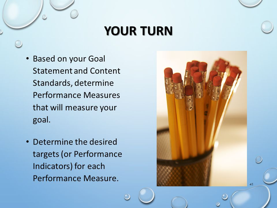 YOUR TURN Based on your Goal Statement and Content Standards, determine Performance Measures that will measure your goal.