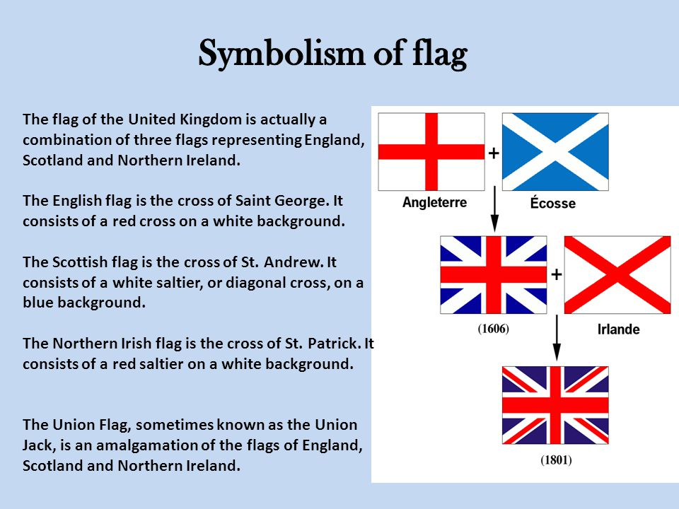 The flag of the United Kingdom is actually a combination of three flags representing England, Scotland and Northern Ireland.