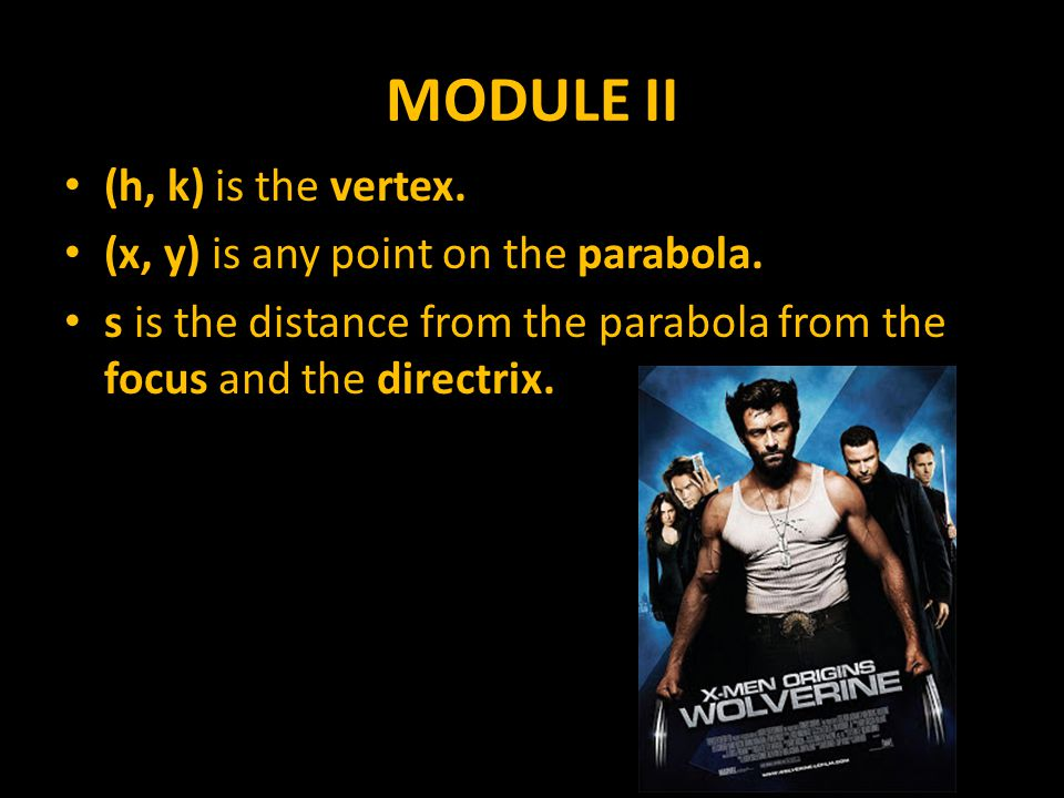 MODULE II (h, k) is the vertex. (x, y) is any point on the parabola.