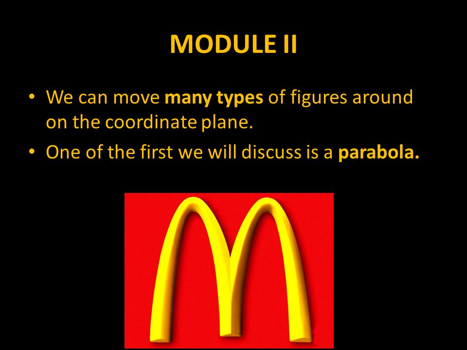 MODULE II We can move many types of figures around on the coordinate plane.