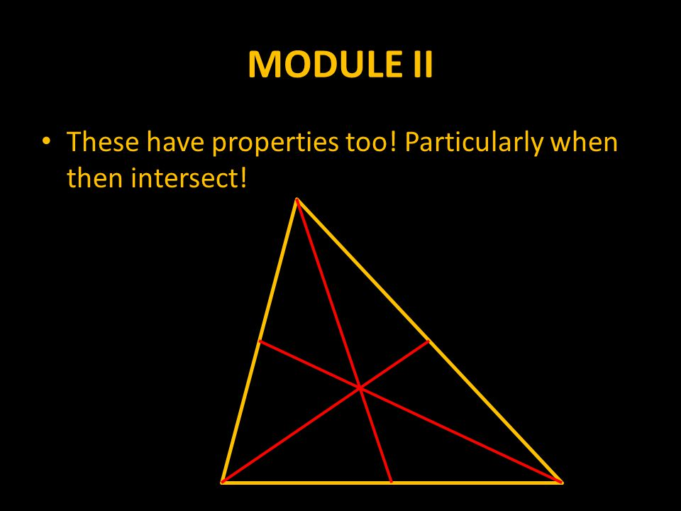 MODULE II These have properties too! Particularly when then intersect!