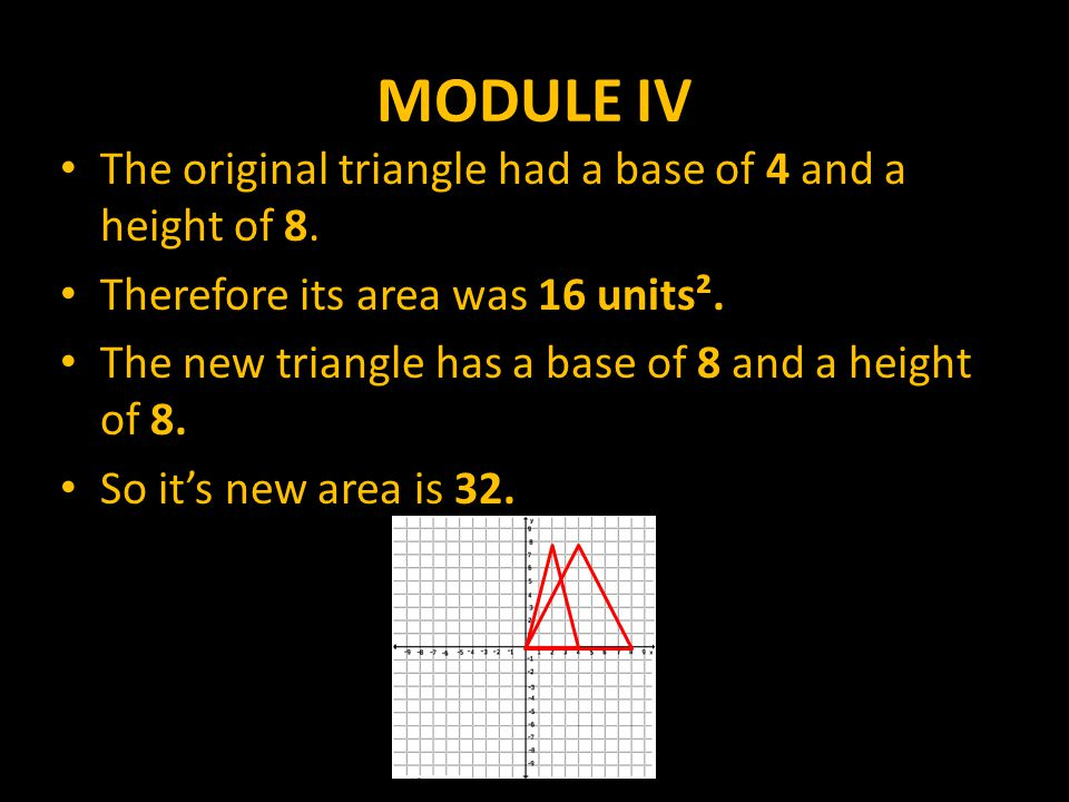 MODULE IV The original triangle had a base of 4 and a height of 8.