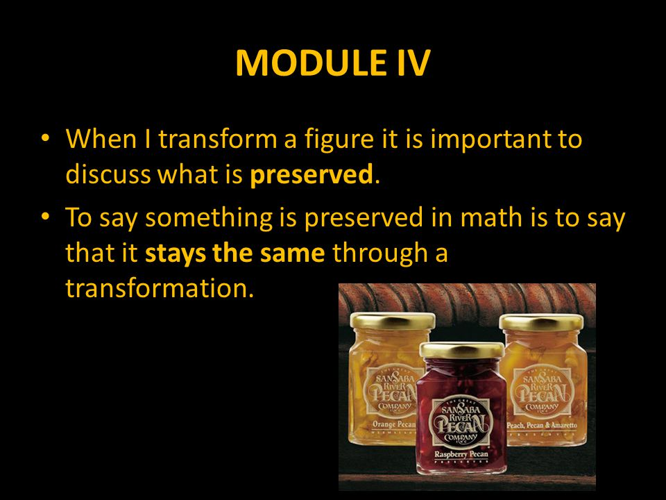 MODULE IV The features that can be preserved are – Distance – Angle Measure – Orientation – Area