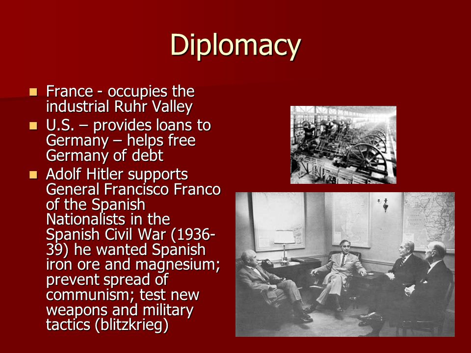 Diplomacy France - occupies the industrial Ruhr Valley France - occupies the industrial Ruhr Valley U.S. – provides loans to Germany – helps free Germ