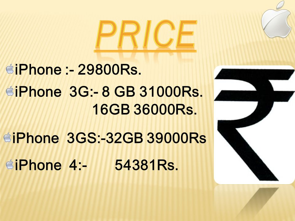 iPhone :- 29800Rs. iPhone 3G:- 8 GB 31000Rs. 16GB 36000Rs.
