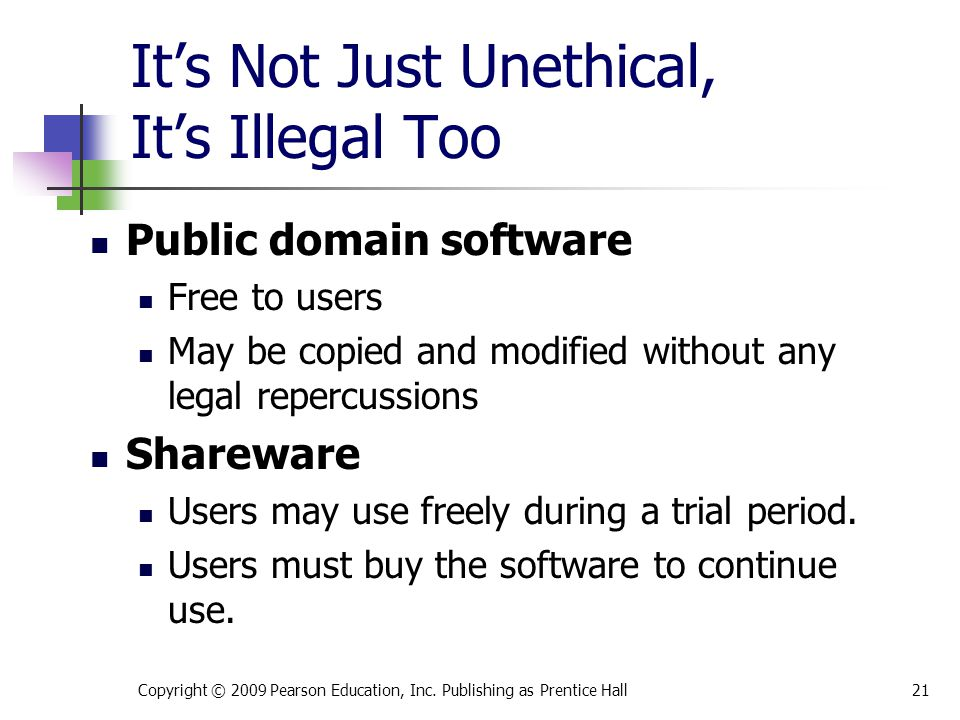It's Not Just Unethical, It's Illegal Too Public domain software Free to users May be copied and modified without any legal repercussions Shareware Us