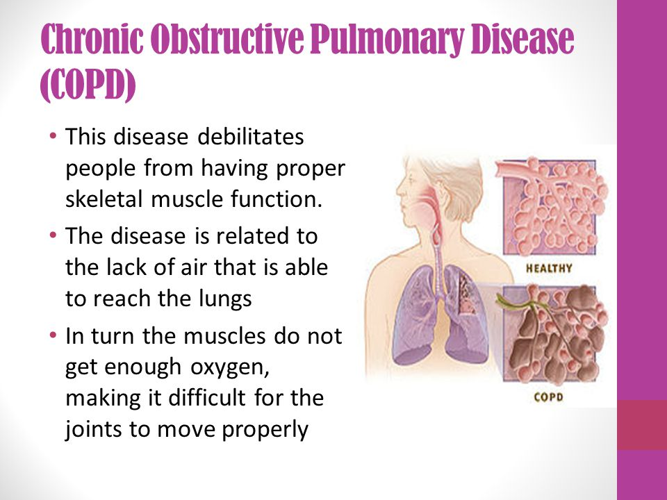 Chronic Obstructive Pulmonary Disease (COPD) This disease debilitates people from having proper skeletal muscle function.