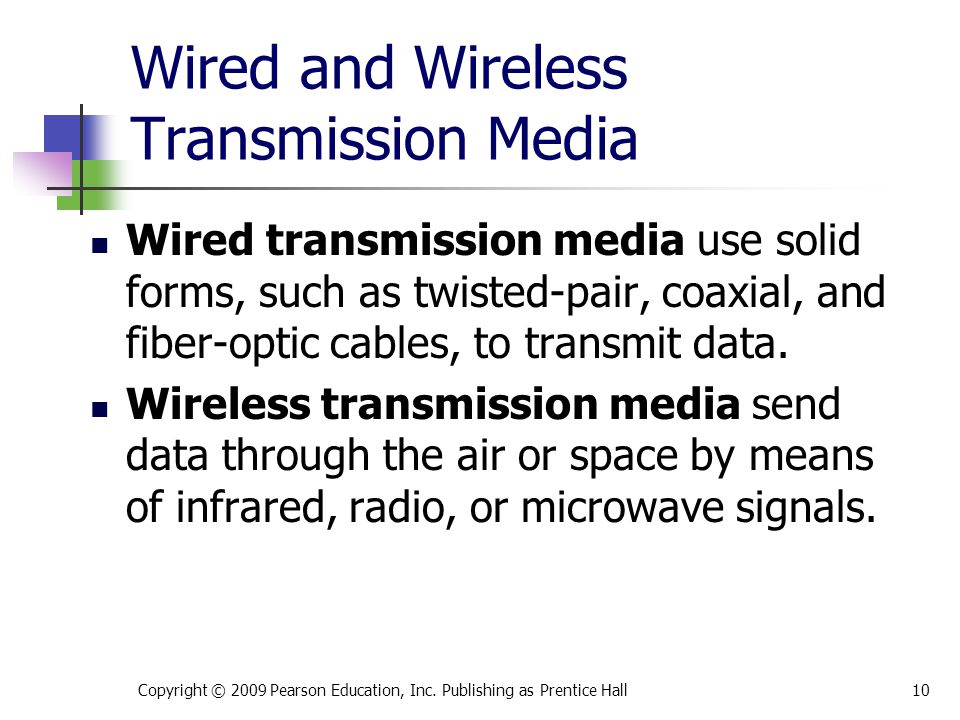 Wired and Wireless Transmission Media Wired transmission media use solid forms, such as twisted-pair, coaxial, and fiber-optic cables, to transmit dat