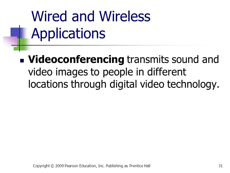 Wired and Wireless Applications Copyright © 2009 Pearson Education, Inc. Publishing as Prentice Hall31 Videoconferencing transmits sound and video ima