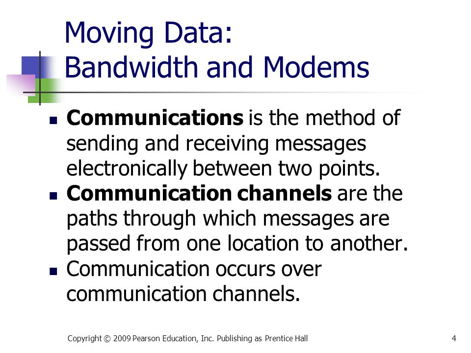 Moving Data: Bandwidth and Modems Communications is the method of sending and receiving messages electronically between two points. Communication chan