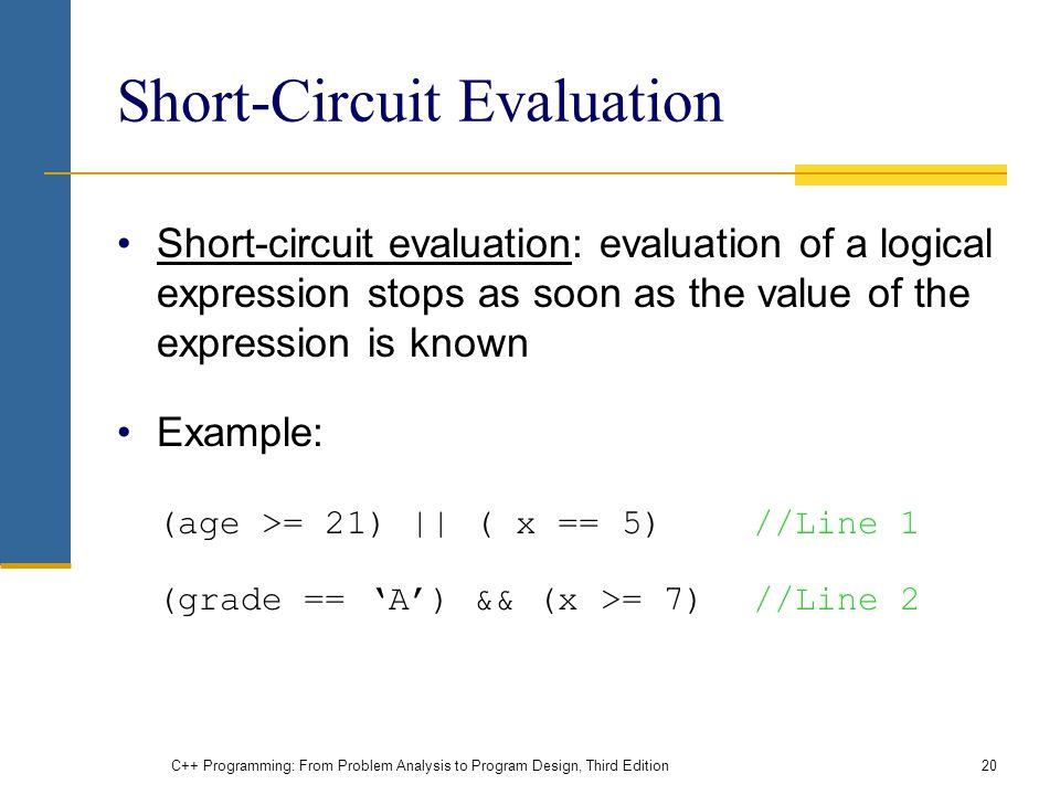 C++ Programming: From Problem Analysis to Program Design, Third Edition20 Short-Circuit Evaluation Short-circuit evaluation: evaluation of a logical e