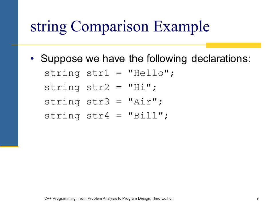 C++ Programming: From Problem Analysis to Program Design, Third Edition9 string Comparison Example Suppose we have the following declarations: string str1 = Hello ; string str2 = Hi ; string str3 = Air ; string str4 = Bill ;