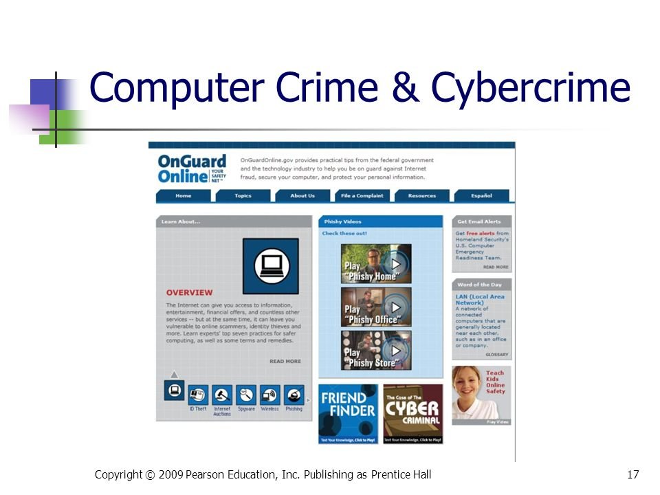 Computer Crime & Cybercrime Copyright © 2009 Pearson Education, Inc. Publishing as Prentice Hall17