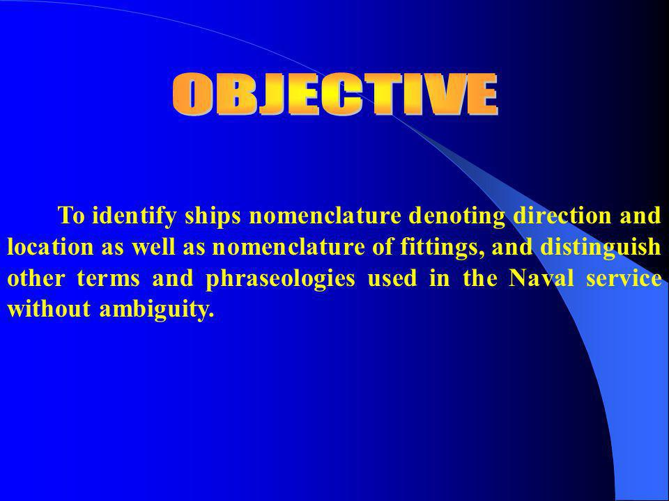* OBJECTIVES * INTRODUCTION * PARTS OF THE SHIP * NAVAL TERMINOLOGIES & PHRASEOLOGIES