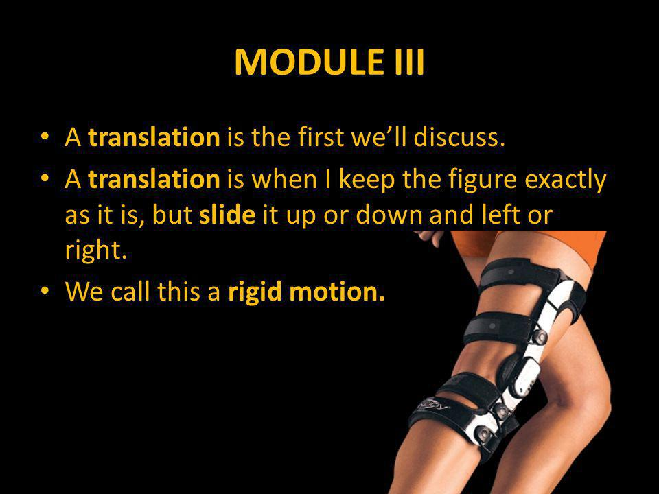 MODULE III A translation is the first we'll discuss.