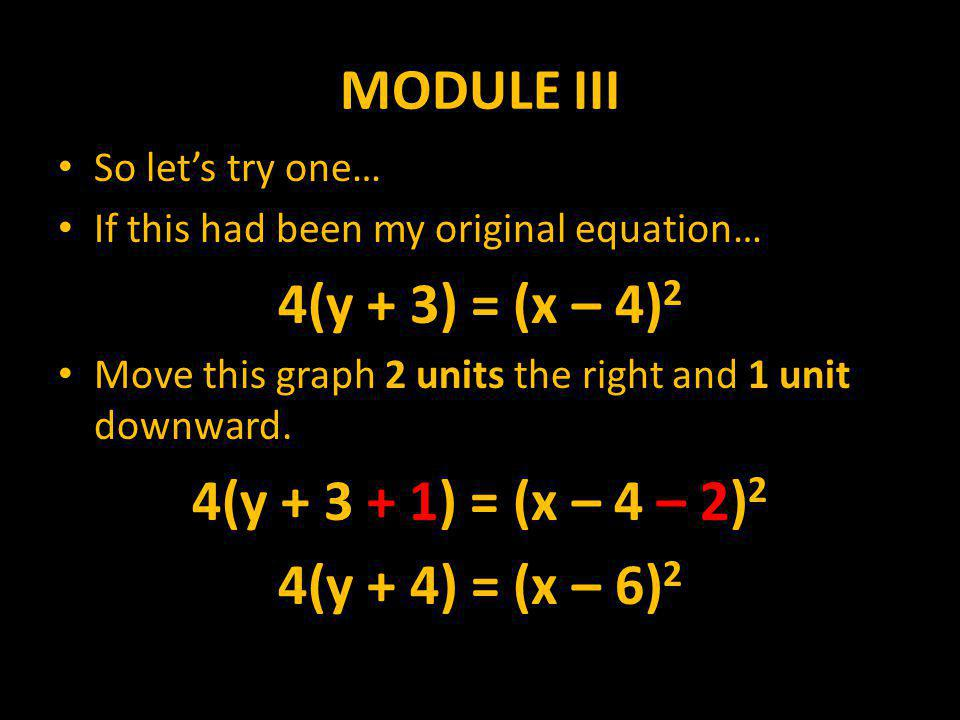 MODULE III So let's try one… If this had been my original equation… 4(y + 3) = (x – 4) 2 Move this graph 2 units the right and 1 unit downward.