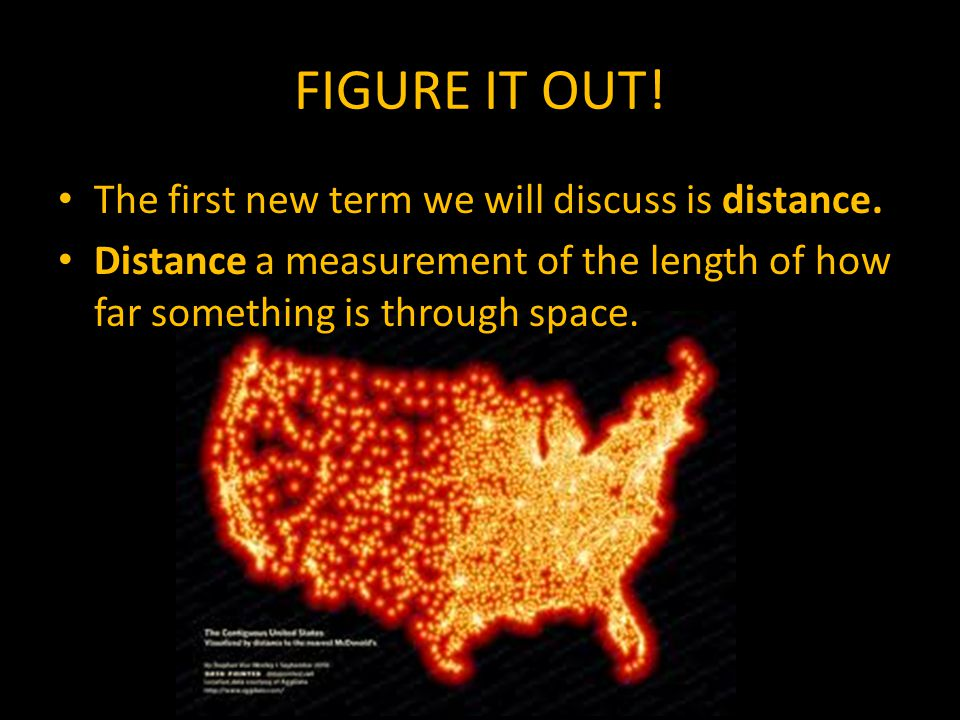 FIGURE IT OUT. The first new term we will discuss is distance.