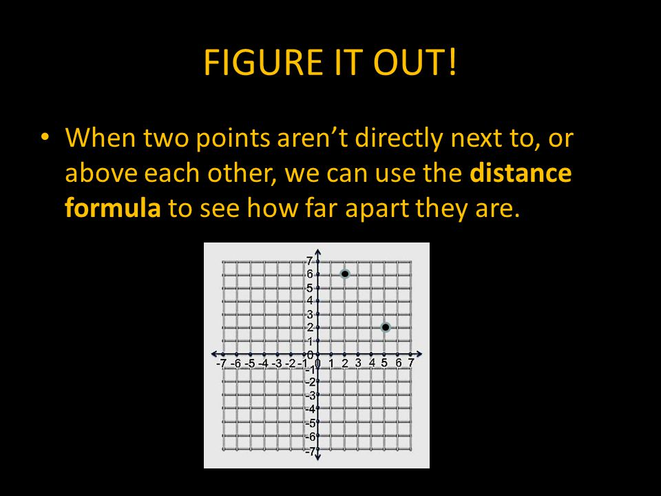 FIGURE IT OUT! When two points aren't directly next to, or above each other, we can use the distance formula to see how far apart they are.