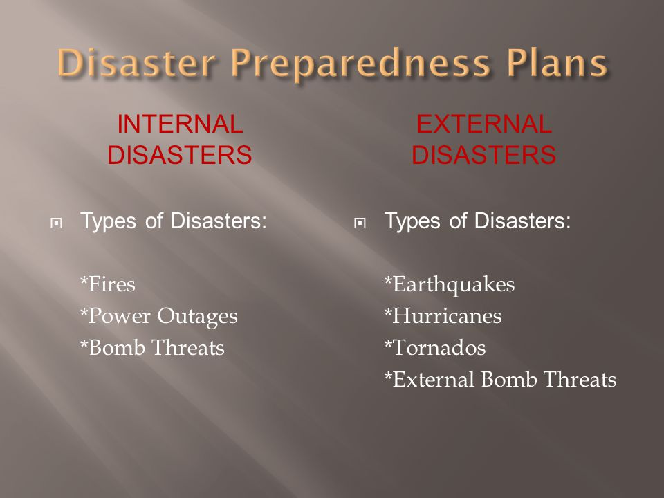 INTERNAL DISASTERS  Types of Disasters: *Fires *Power Outages *Bomb Threats EXTERNAL DISASTERS  Types of Disasters: *Earthquakes *Hurricanes *Tornad
