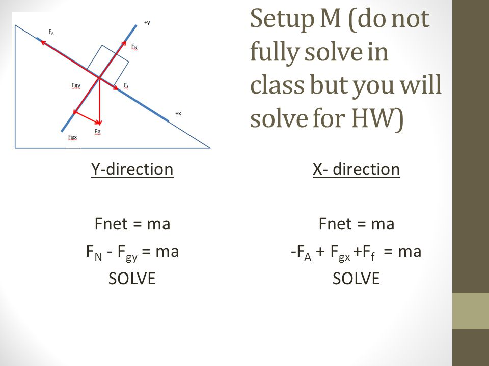 Setup M (do not fully solve in class but you will solve for HW) Y-direction Fnet = ma F N - F gy = ma SOLVE X- direction Fnet = ma -F A + F gx +F f = ma SOLVE