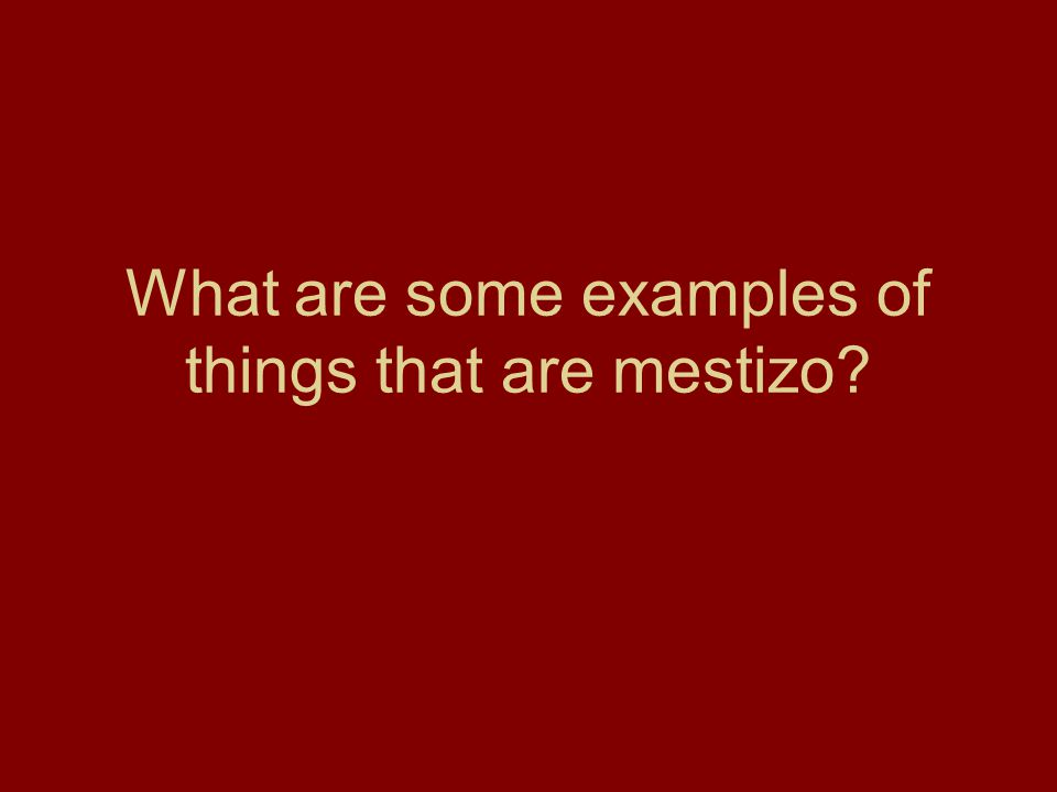 What are some examples of things that are mestizo?