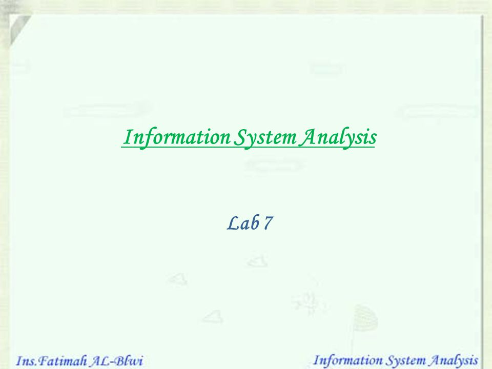 Information System Analysis Lab 7