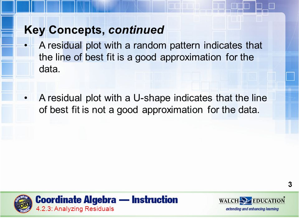 Key Concepts, continued A residual plot with a random pattern indicates that the line of best fit is a good approximation for the data.