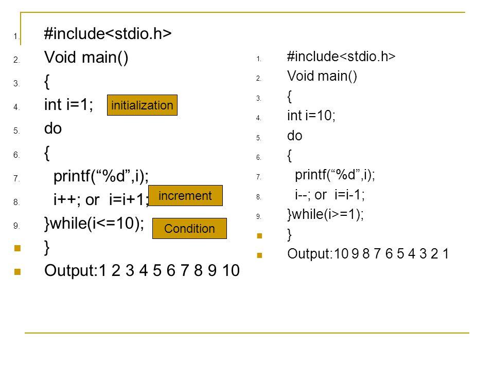 """1. #include 2. Void main() 3. { 4. int i=1; 5. do 6. { 7. printf(""""%d"""",i); 8. i++; or i=i+1; 9. }while(i<=10); } Output:1 2 3 4 5 6 7 8 9 10 1. #includ"""