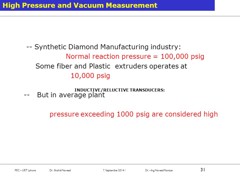 PEC – UET Lahore Dr. Shahid Naveed 7. September 2014 / Dr. –Ing Naveed Ramzan 31 High Pressure and Vacuum Measurement -- Synthetic Diamond Manufacturi