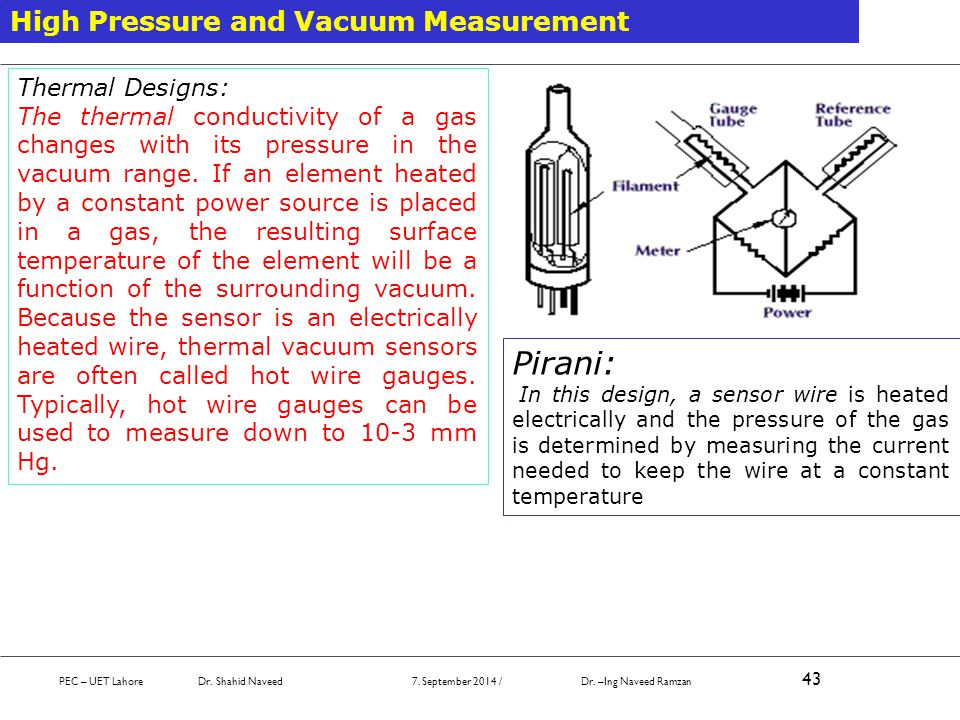 PEC – UET Lahore Dr. Shahid Naveed 7. September 2014 / Dr. –Ing Naveed Ramzan 43 High Pressure and Vacuum Measurement Thermal Designs: The thermal con