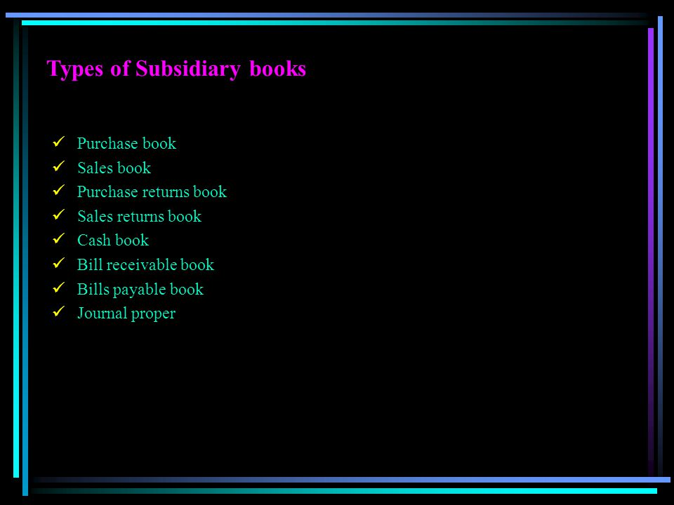 Types of Subsidiary books Purchase book Sales book Purchase returns book Sales returns book Cash book Bill receivable book Bills payable book Journal
