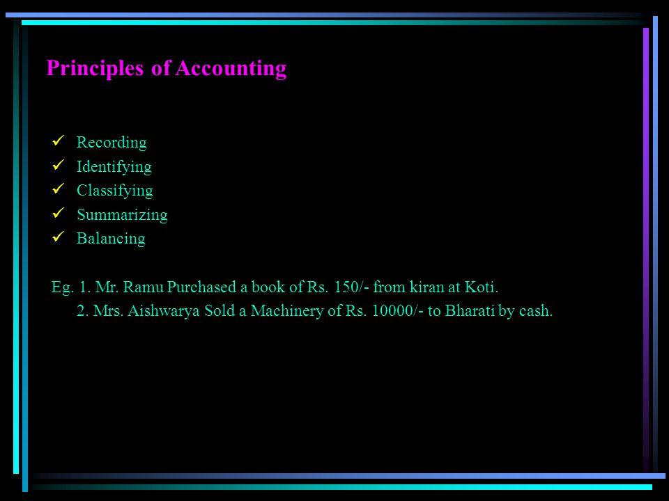 Principles of Accounting Recording Identifying Classifying Summarizing Balancing Eg. 1. Mr. Ramu Purchased a book of Rs. 150/- from kiran at Koti. 2.