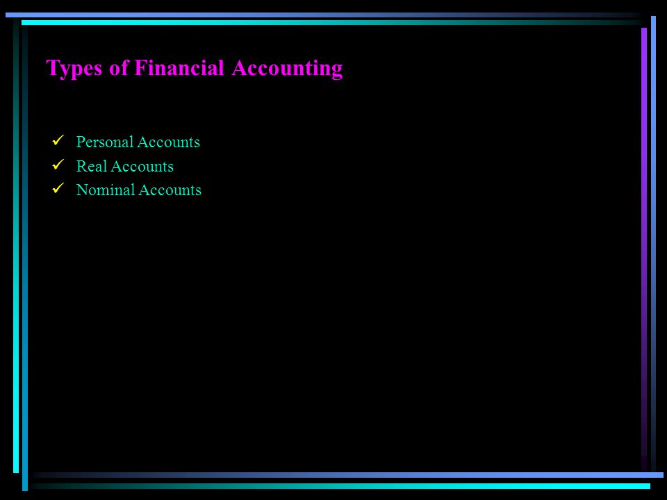 Types of Financial Accounting Personal Accounts Real Accounts Nominal Accounts