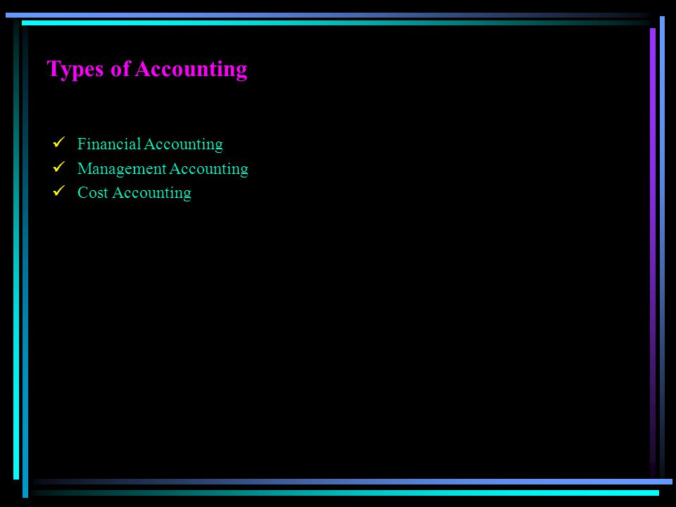 Types of Accounting Financial Accounting Management Accounting Cost Accounting