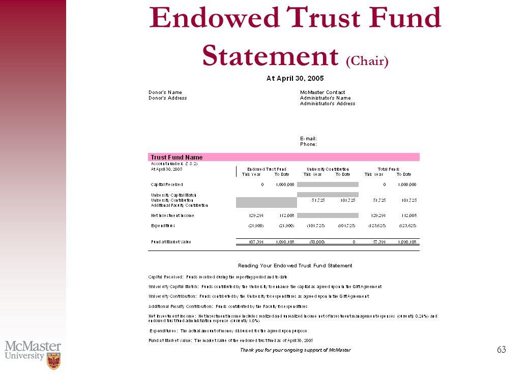 63 Endowed Trust Fund Statement (Chair)