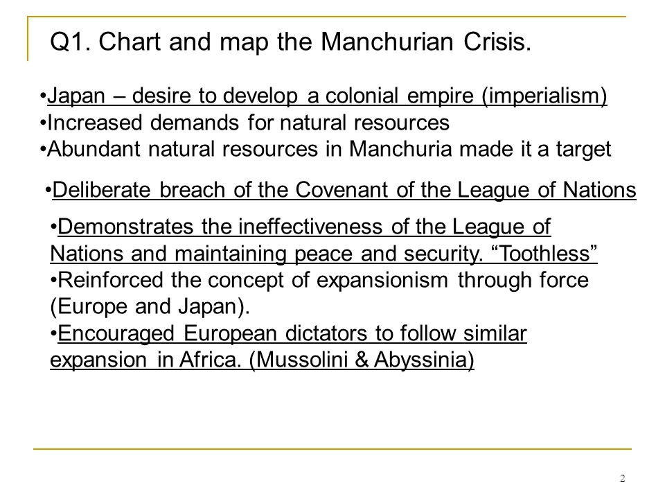 2 Q1. Chart and map the Manchurian Crisis. Japan – desire to develop a colonial empire (imperialism) Increased demands for natural resources Abundant
