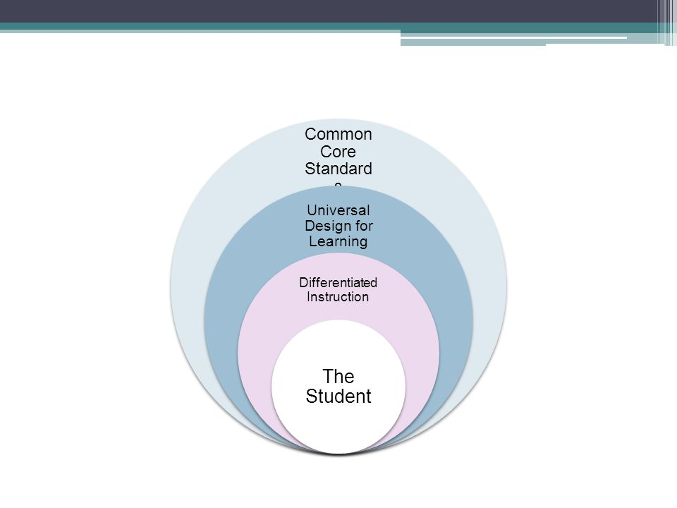 Common Core Standard s Universal Design for Learning Differentiated Instruction The Student